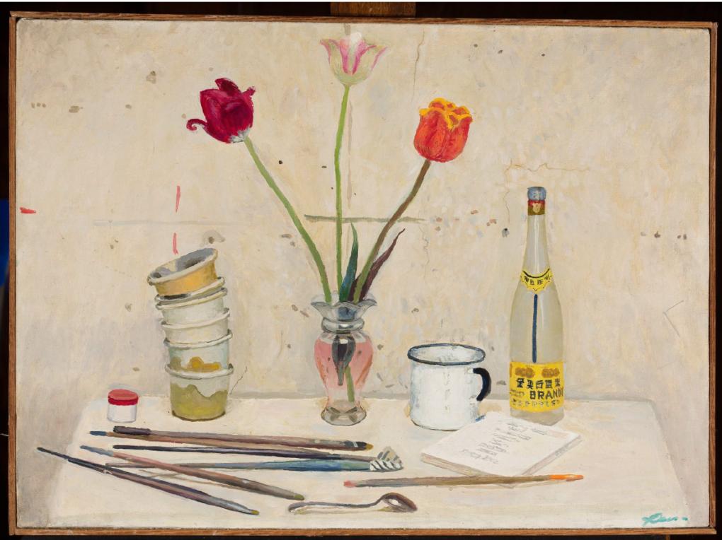 Mieczysław Baryłko (1923-2002), Martwa natura z tulipanami, 1966, olej na płótnie 46 x63 cm, ZBIORY SZTUKI NOWOCZESNEJ MNW, https://cyfrowe.mnw.art.pl/pl/katalog/514943