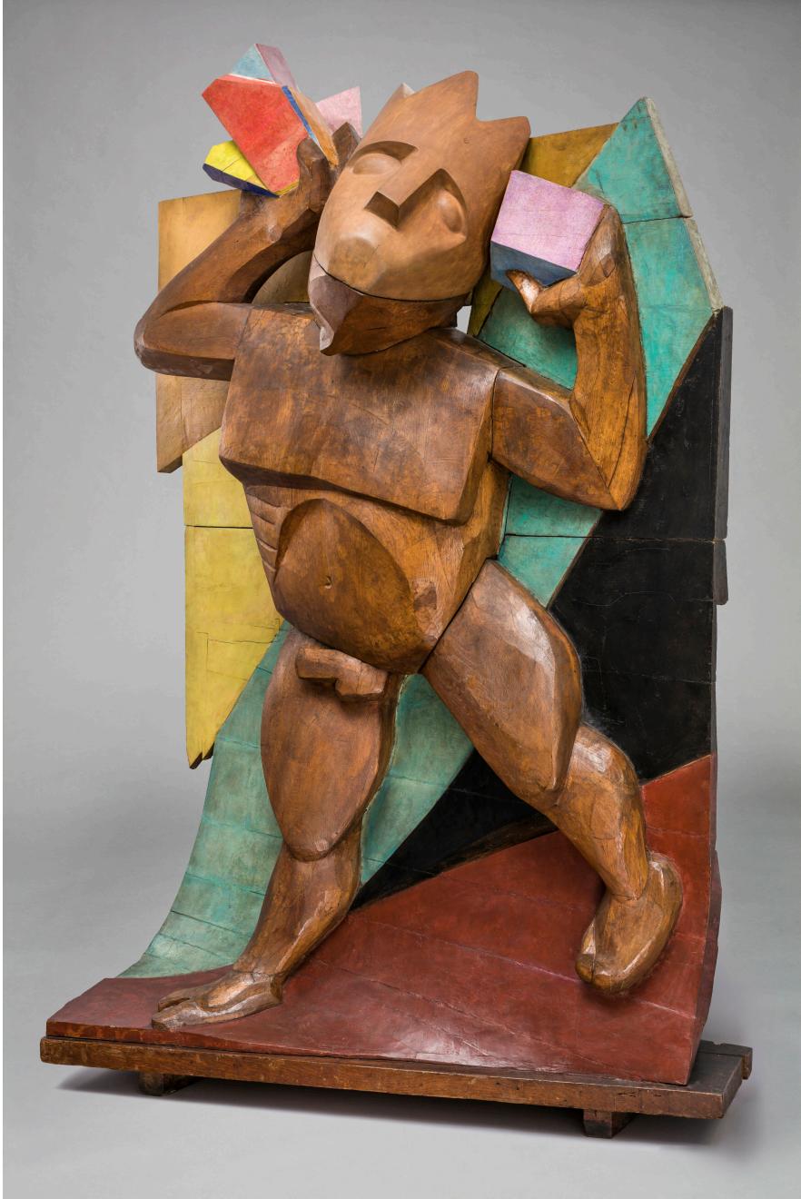 Xawery Dunikowski (1875-1964), Autoportret (Idę ku słońcu), 1917-1920, rzeźba, drewno dębowe, drewno, 243 x 170 x 80 cm, ZBIORY SZTUKI NOWOCZESNEJ MNW, https://cyfrowe.mnw.art.pl/pl/katalog/1500003