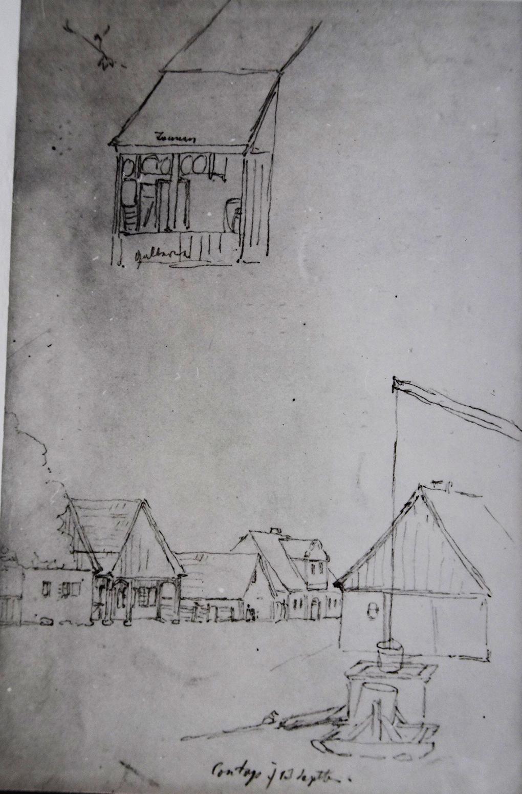 Ludwig Most, Widok Konotopu, 13.09.1835, ołówek, papier czerpany welinowy, Muzeum Narodowe w Szczecinie, Szkicownik nr VII, karta 18 verso