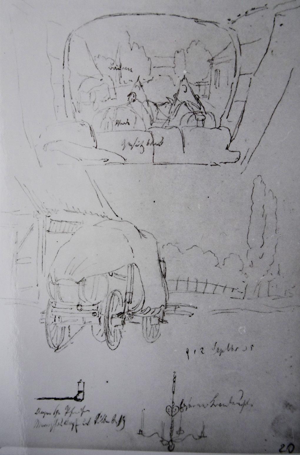 Ludwig Most, Widok z wozu i szkic wozu podróżnego, 12.09.1835, ołówek, papier czerpany welinowy, Muzeum Narodowe w Szczecinie, Szkicownik nr VII, karta 20