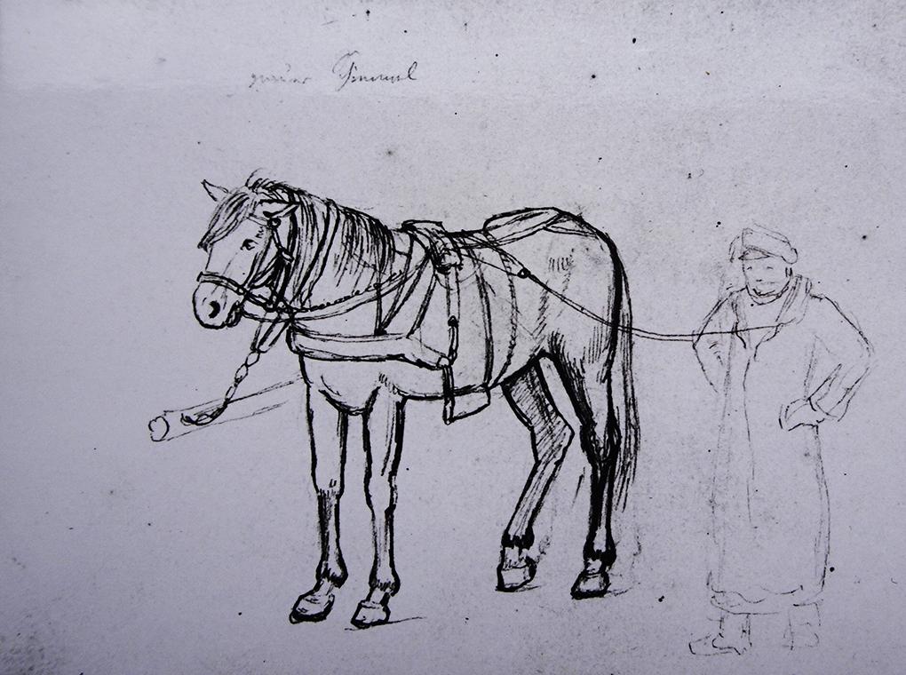 Ludwig Most, Koń i woźnica, 1829?, ołówek, papier czerpany welinowy, Muzeum Narodowe w Szczecinie, Szkicownik nr II, karta 15