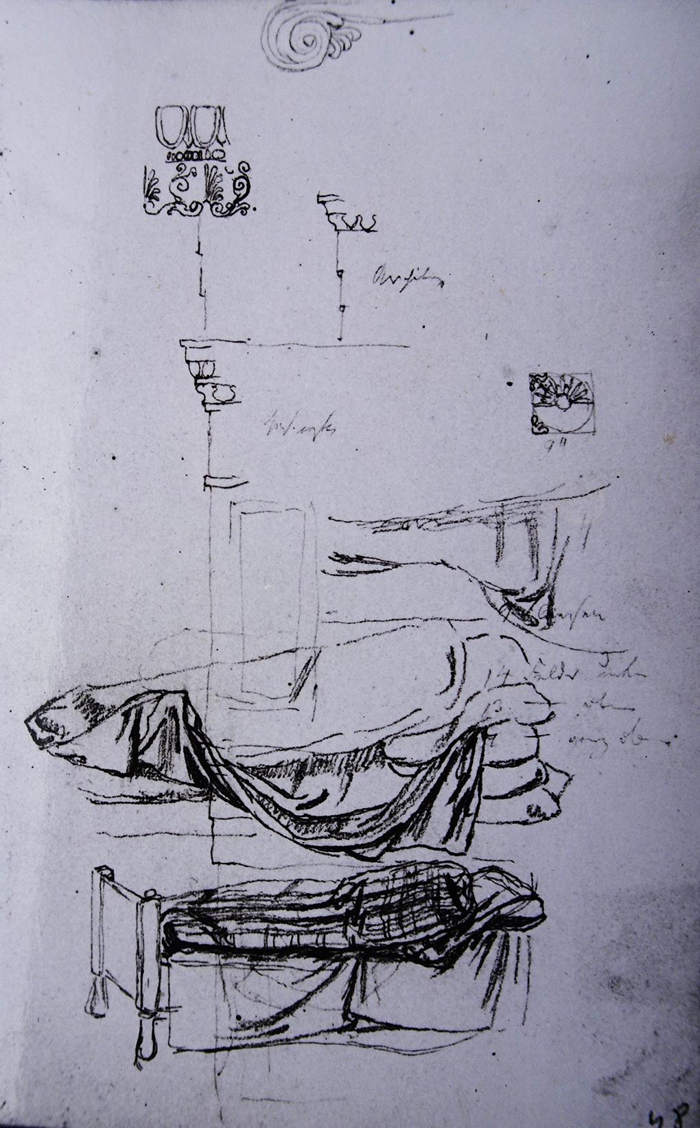Ludwig Most, Dwa posłania, nie datowany, ołówek, papier czerpany welinowy, Muzeum Narodowe w Szczecinie, Szkicownik nr II, karta 48
