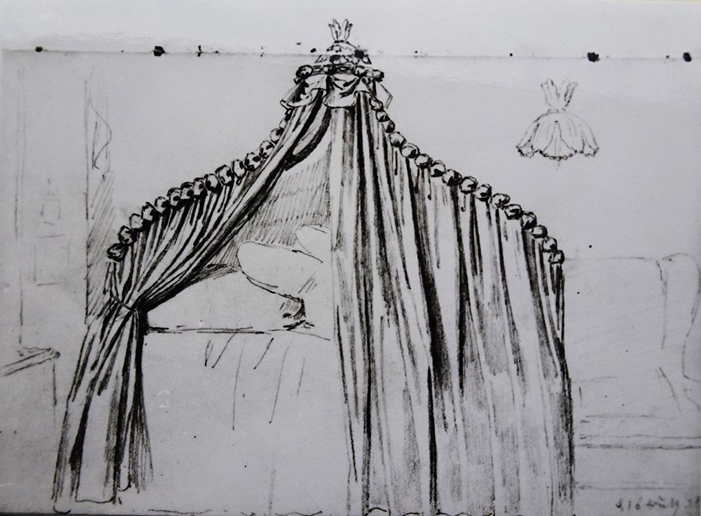 Ludwig Most, Łoże pod baldachimem z kotarą, 16.07.1835 lub 1836, ołówek, papier czerpany welinowy, Muzeum Narodowe w Szczecinie, Szkicownik nr VII, karta 23 verso
