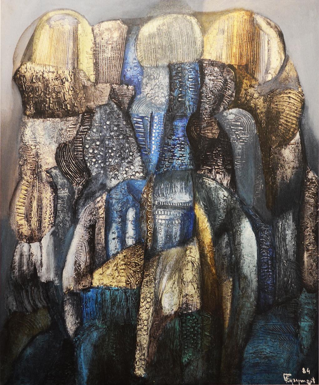 Tadeusz Eysymont, Zgrupowanie w tonacji niebieskiej, 1984, akryl na płótnie, 100x91 cm, Urząd Miejski w Szczecinie. Fot. Jolanta Gramczyńska