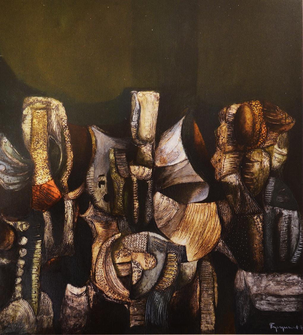Tadeusz Eysymont, Nawarstwienie, 1976, akryl na płótnie, 130x110 cm, Zachodniopomorski Urząd Wojewódzki w Szczecinie. Fot. Jolanta Gramczyńska,