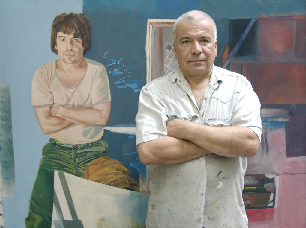 Jarosław Eysymont, syn Tadeusza Eysymonta na tle autoportretu