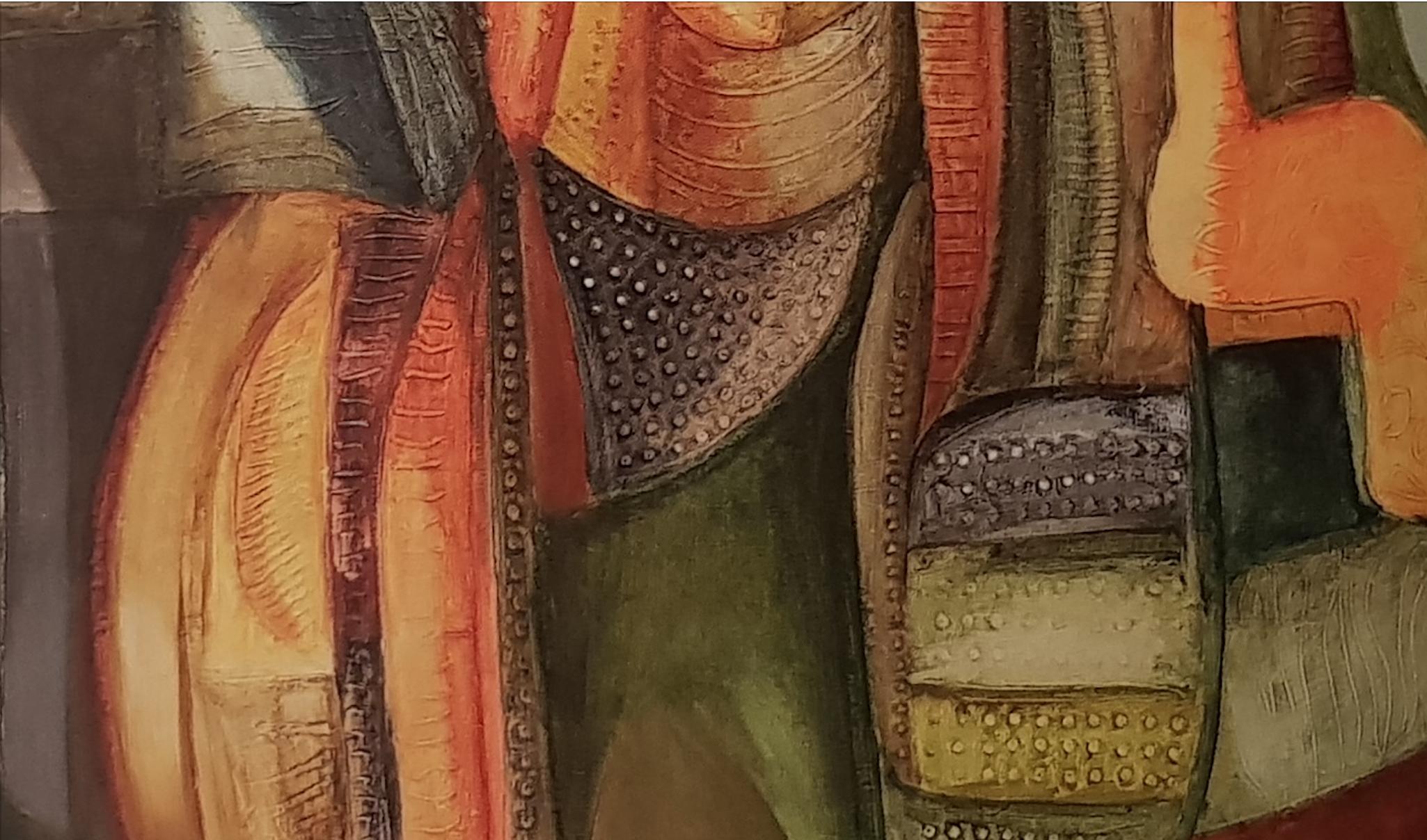 Tadeusz Eysymont, Skamieliny (fragment), 1990, akryl na płótnie, 100x100 cm, Urząd Miejski Szczecin. Fot. Jolanta Gramczyńska