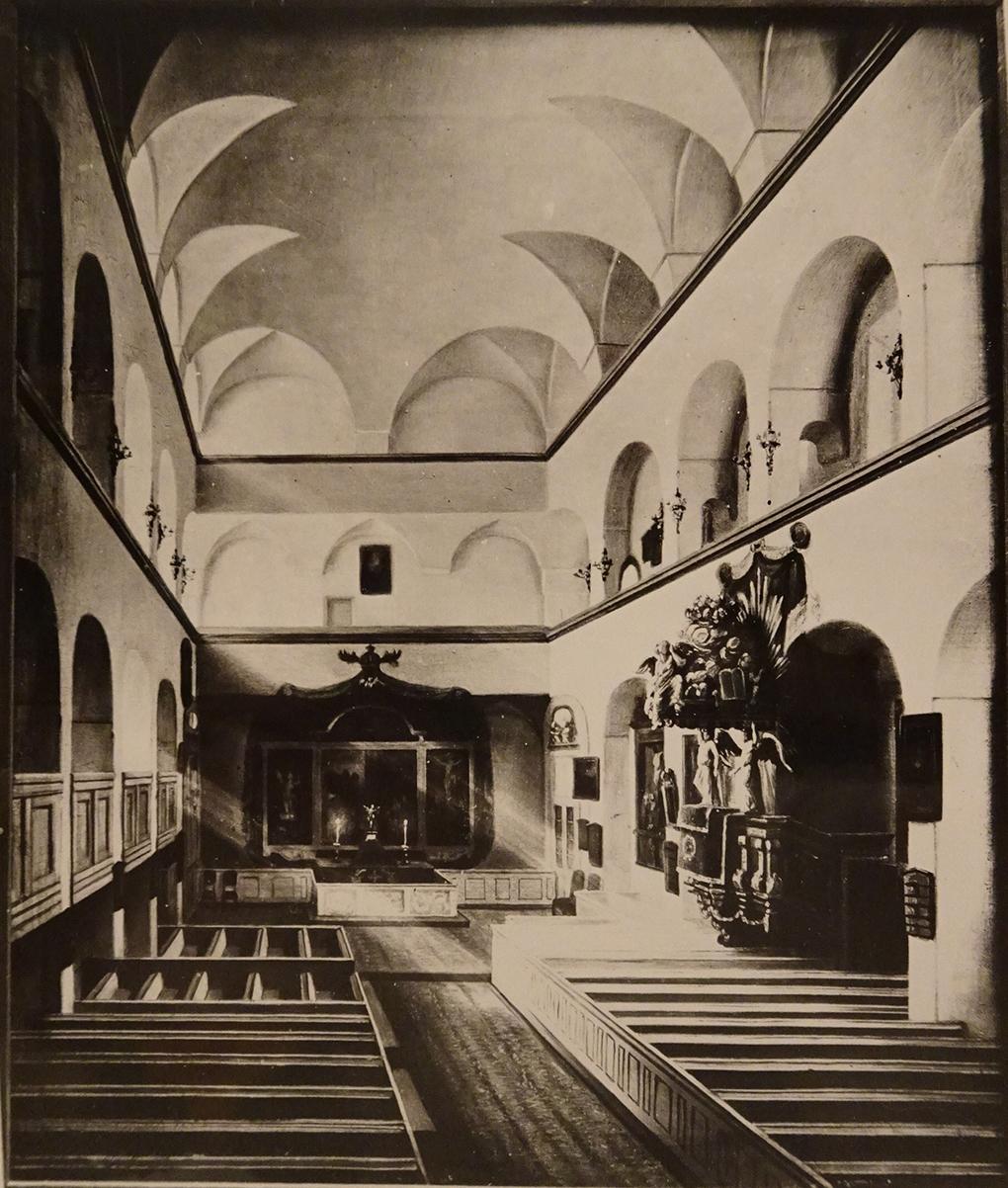 Ludwig Most, Widok wnętrza kościoła zamkowego, 1861, obraz olejny na płótnie, Muzeum Narodowe w Szczecinie, Archiwum Fotograficzne