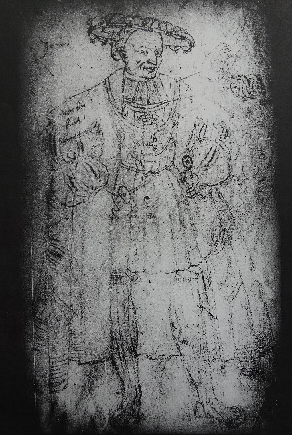 Lukas Cranach (?), Portret Bogusława X, nie datowany, XVI w., rysunek węglem? na papierze, fotografia archiwalna, Muzeum Narodowe w Szczecinie