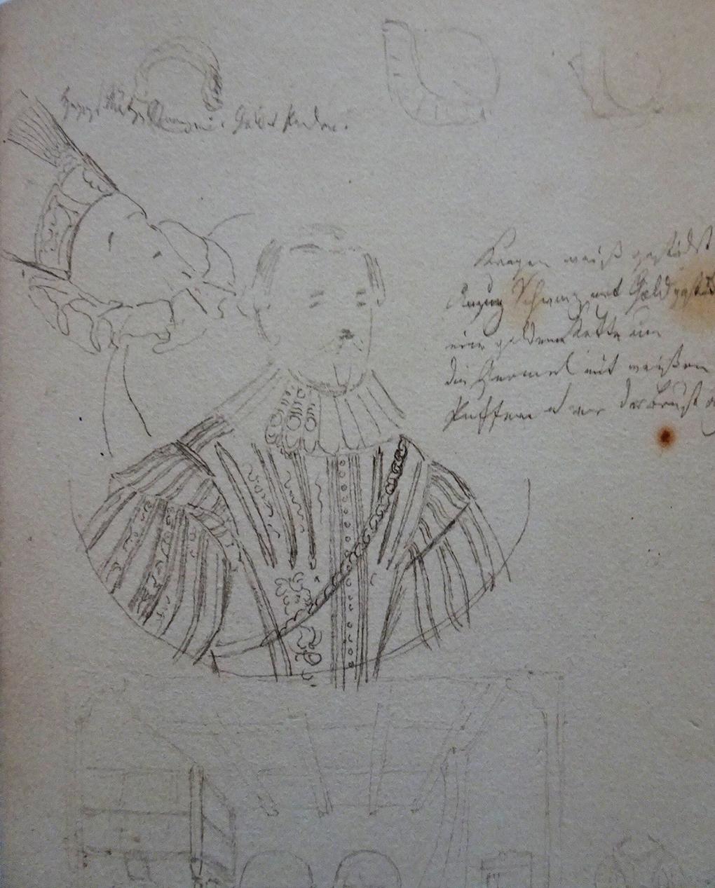 Ludwig Most, Portret podwójny książąt pomorskich, ołówek na papierze czerpanym welinowym, nie datowany, Szkicownik VI, karta 36 verso, Muzeum Narodowe w Szczecinie