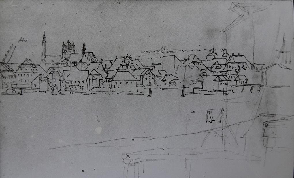 Ludwig Most, od południowego wschodu, z Łasztowni (Lastadie), nie datowany (1834), ołówek na papierze czerpanym welinowym, Szkicownik VI, karta 55 verso, Muzeum Narodowe w Szczecinie