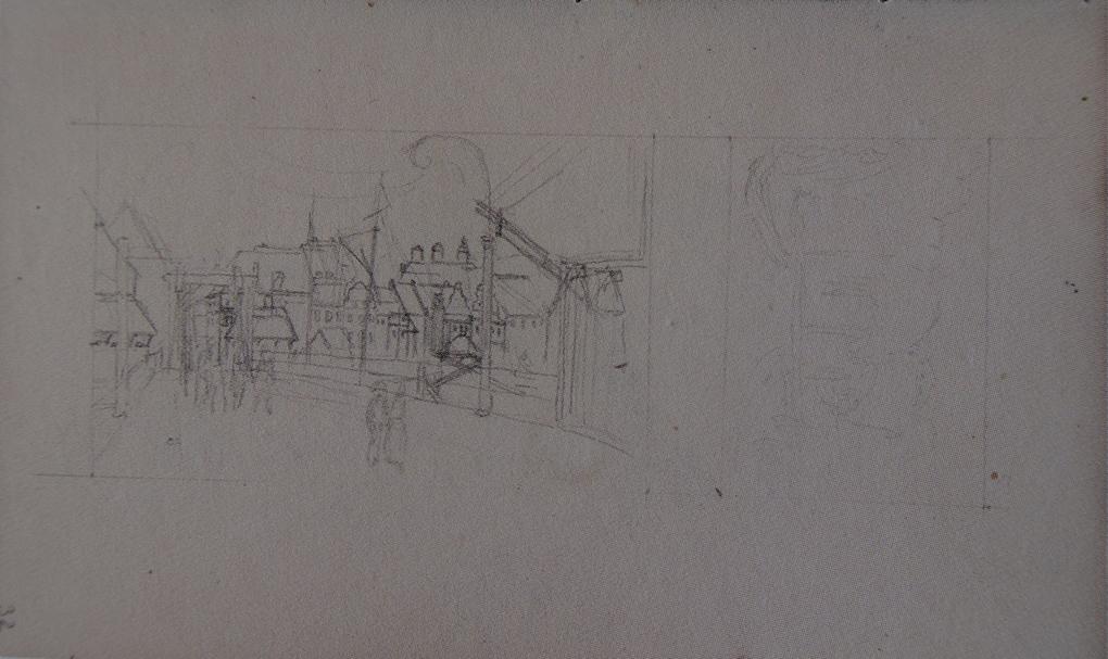 Ludwig Most, Widok Szczecina z Mostu Długiego, niedat., 1834, ołówek, papier czerpany welinowy, Szkicownik VI, karta 32, Muzeum Narodowe w Szczecinie