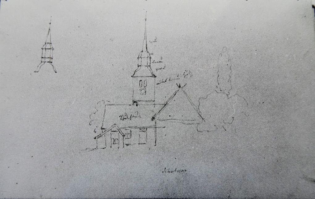 Ludwig Most, Kościół w Skolwinie, 12.06.1838, ołówek, papier czerpany, Szkicownik nr 6, karta 67, Muzeum Narodowe w Szczecinie
