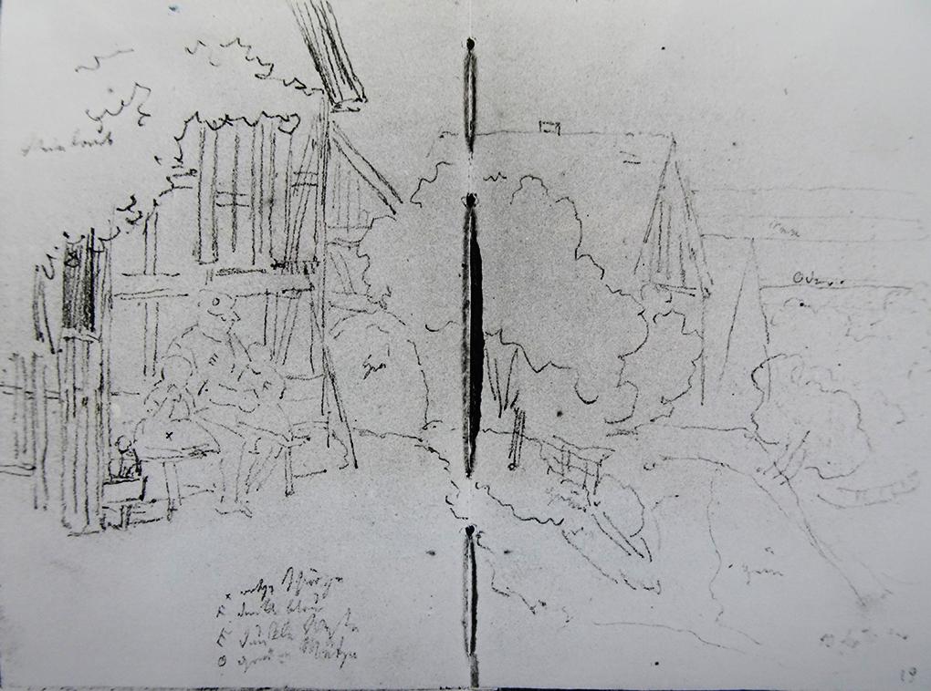 Ludwig Most, Mężczyzna z dziećmi na ławce przed chałupą, 10.09.1840, ołówek, papier czerpany, Szkicownik nr 12, karta 18 verso –19, Muzeum Narodowe w Szczecinie