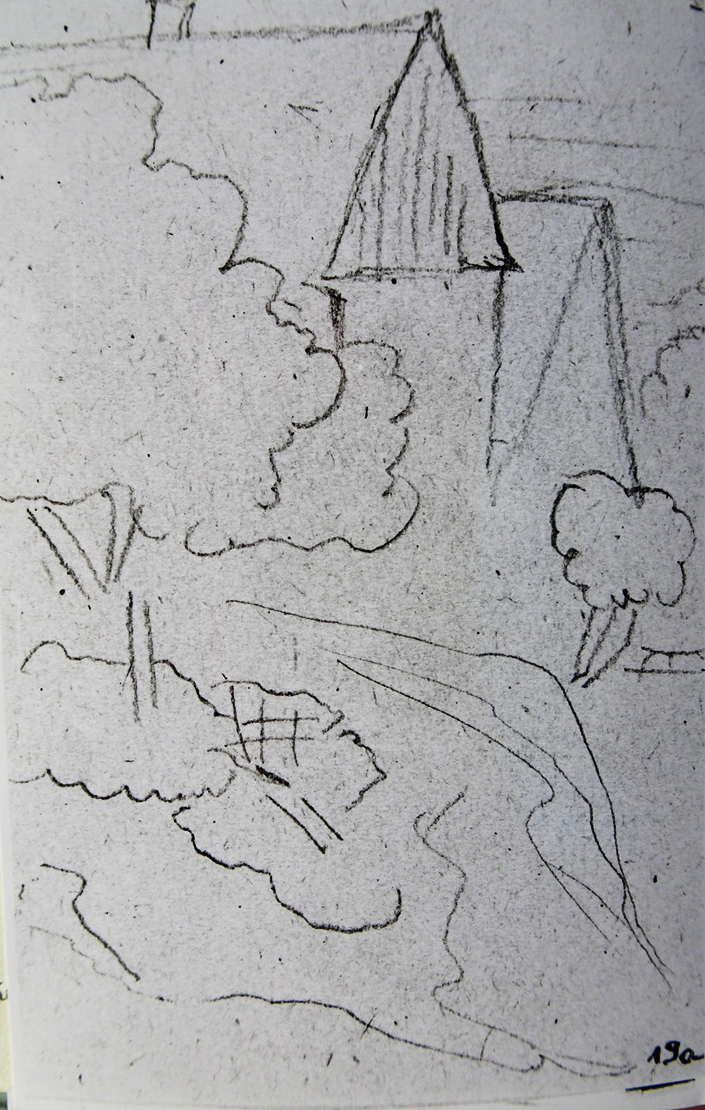 Ludwig Most, Fragment zabudowy wiejskiej w okolicach Szczecina, nie datowany (10.09.1840?), ołówek, papier czerpany, Szkicownik nr 12, karta 19a, Muzeum Narodowe w Szczecinie