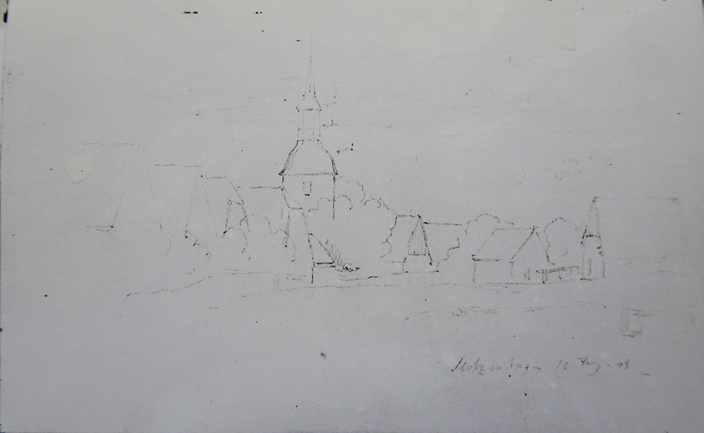 Ludwig Most, Widok wsi Stołczyn, 12.06.1838, ołówek, papier czerpany, Szkicownik nr 6, karta 71 verso, Muzeum Narodowe w Szczecinie