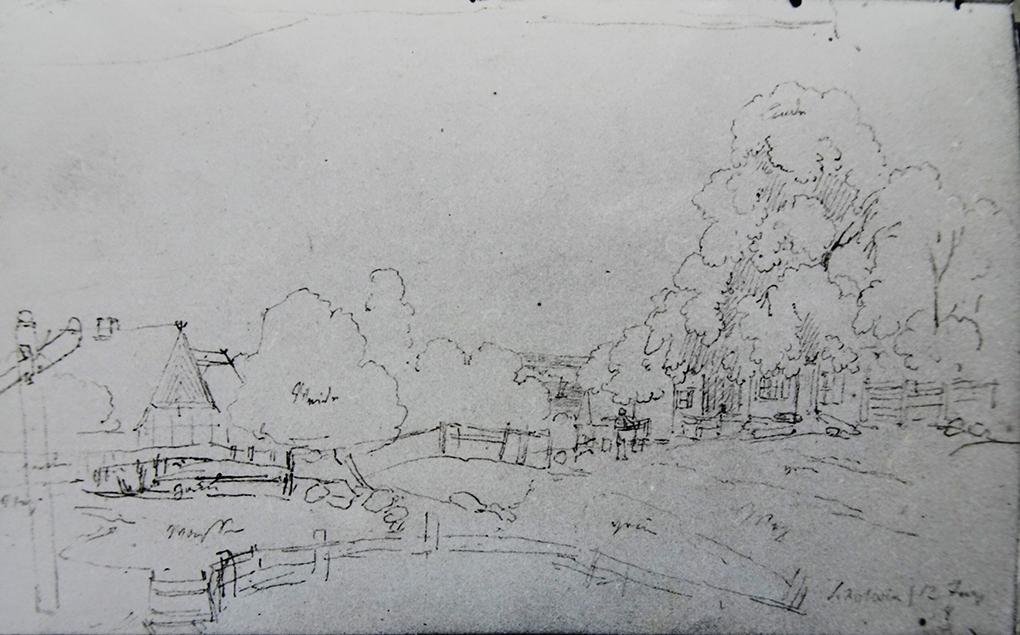Ludwig Most, Widok wsi Skolwin, 12.06.1838, ołówek, papier czerpany, Szkicownik nr 6, karta 67 verso, Muzeum Narodowe w Szczecinie
