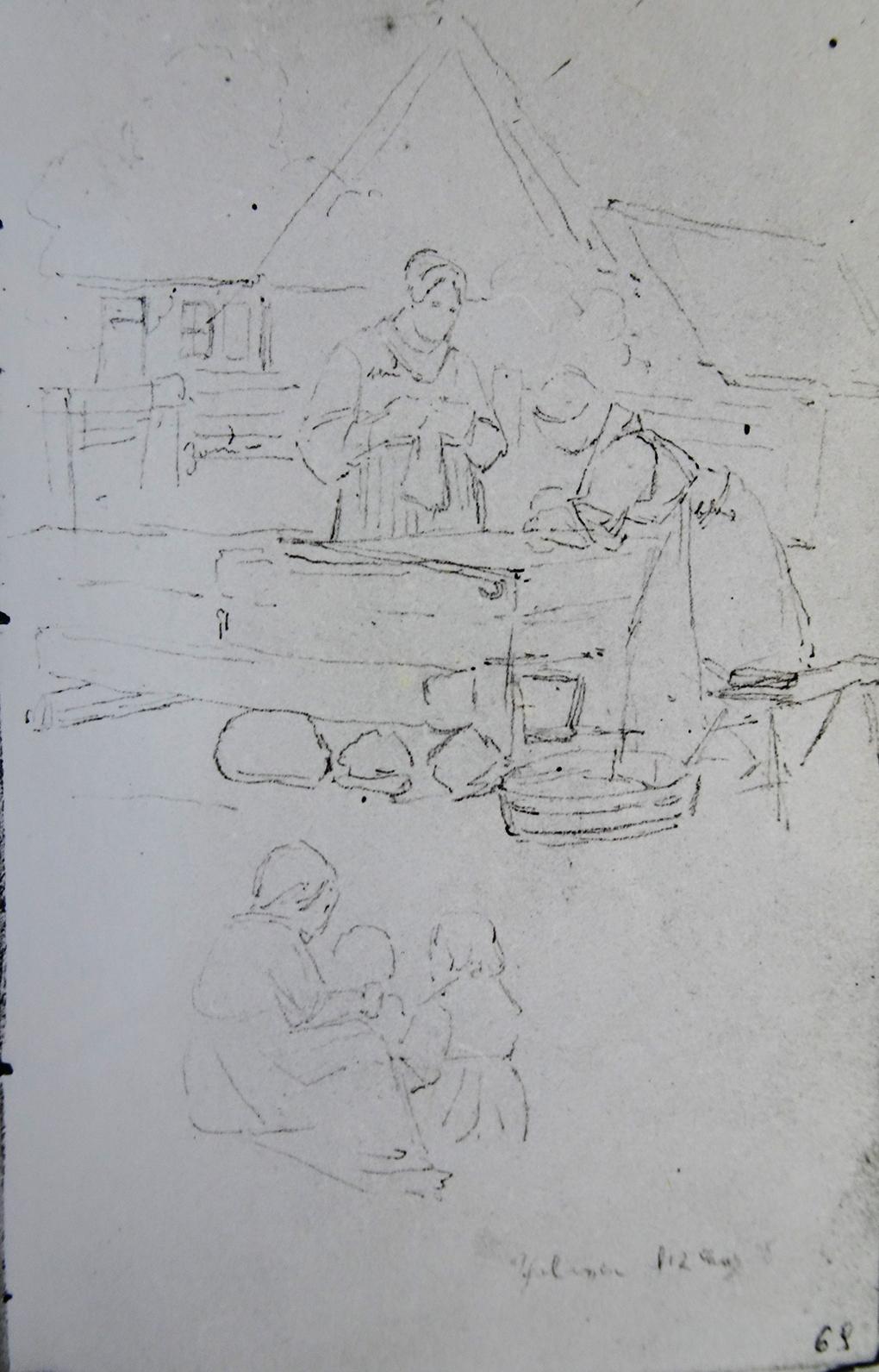 Ludwig Most, Praczki na podwórku zagrody w Skolwinie, 12.06.1838, ołówek, papier czerpany, Szkicownik nr 6, karta 69, Muzeum Narodowe w Szczecinie