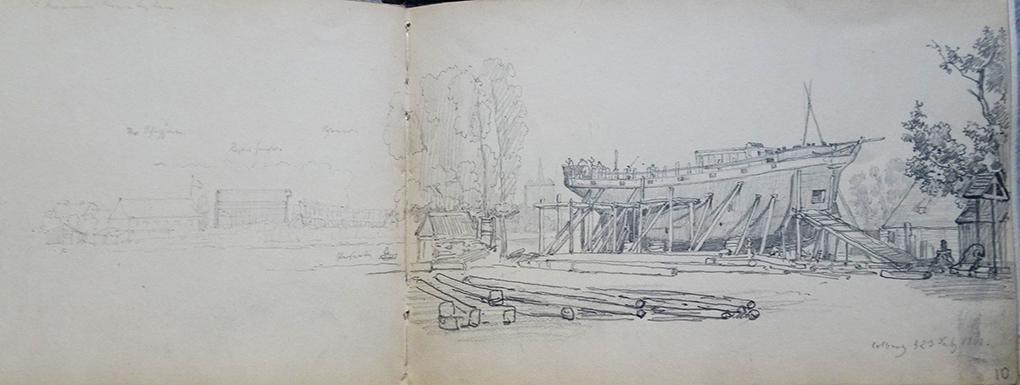 Ludwig Most, Kołobrzeg, statek w budowie, 23 lipca 1860, ołówek, papier welinowy, Szkicownik XIV, karta 9 verso – 10, Muzeum Narodowe w Szczecinie