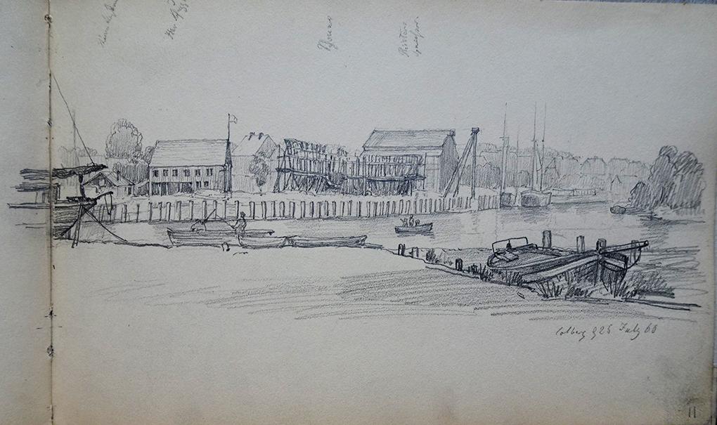 Ludwig Most, Panorama stoczni w Kołobrzegu, 25 lipca 1860, ołówek, papier welinowy, Szkicownik XIV, karta 11, Muzeum Narodowe w Szczecinie
