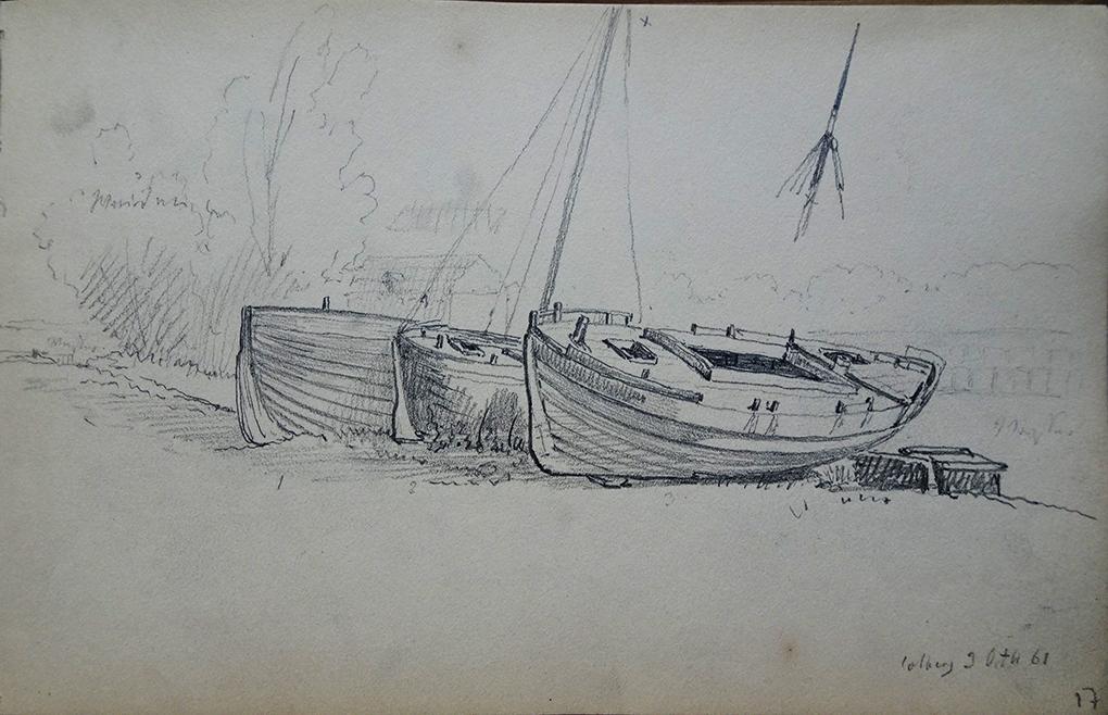 Ludwig Most, Łodzie schnące na brzegu Parsęty, 3 października 1861, ołówek, papier welinowy, Szkicownik XIV, karta 17, Muzeum Narodowe w Szczecinie