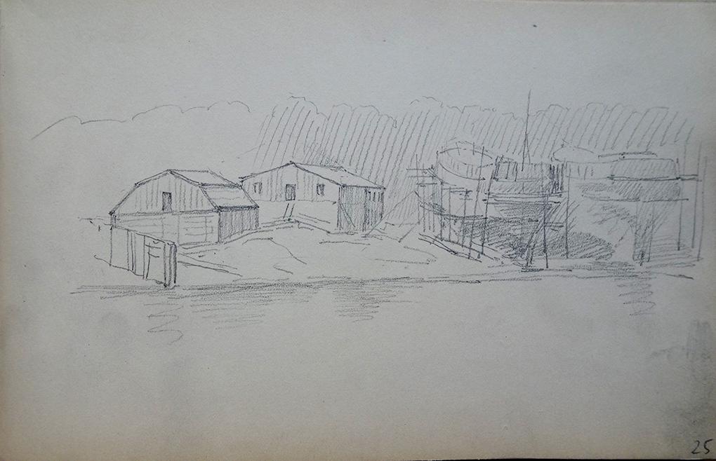 Ludwig Most, Kołobrzeska stocznia, część lewa, nie datowany (lipiec 1864), ołówek, papier welinowy, Szkicownik XIV, karta 25, Muzeum Narodowe w Szczecinie