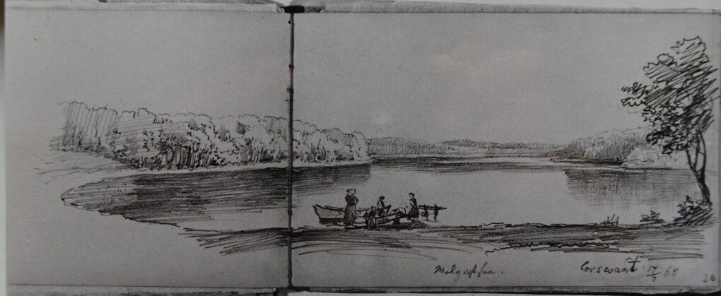 Ludwig Most, Wolgastsee na wyspie Uznam, 17 lipca 1868, ołówek, papier czerpany welinowy, Szkicownik nr XIV, karta 25 verso–26, Muzeum Narodowe w Szczecinie