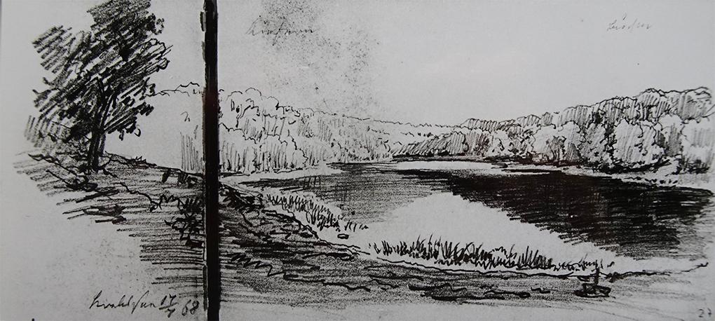 Ludwig Most, Krebssee na wyspie Uznam, 17 lipca 1868, ołówek, papier czerpany welinowy, Szkicownik XIV, karta 26 verso–27, Muzeum Narodowe w Szczecinie