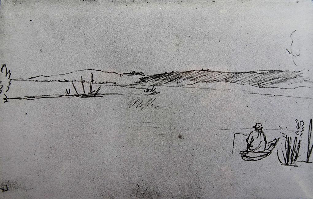 Ludwig Most, Pejzaż z wędkarzem , nie datowany, ok. 1830, ołówek, papier czerpany welinowy, Szkicownik nr III, karta 7, Muzeum Narodowe w Szczecinie
