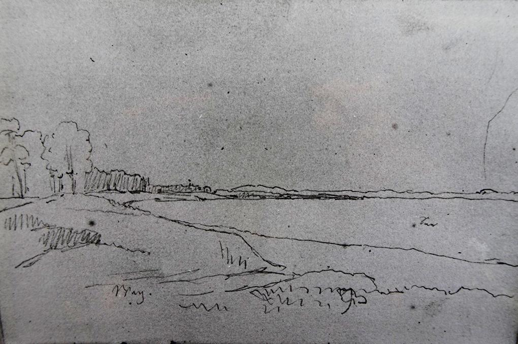 Ludwig Most, Wybrzeże morskie, nie datowany, ołówek, papier czerpany welinowy, Szkicownik nr XII, karta 35 verso, Muzeum Narodowe w Szczecinie