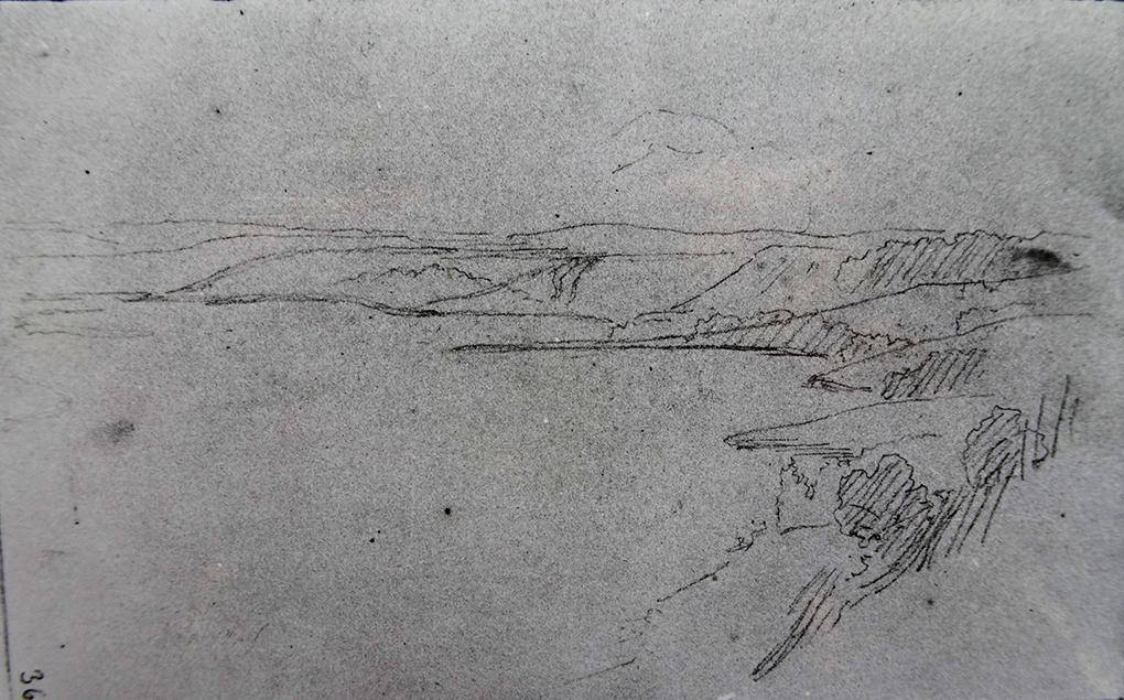 Ludwig Most, Pejzaż z Pomorza, nie datowany, ołówek, papier czerpany welinowy, Szkicownik nr III, karta 36, Muzeum Narodowe w Szczecinie