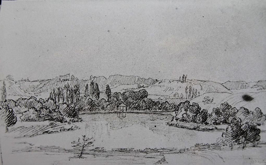 Ludwig Most, Pawilon nad jeziorem, 25 września 1829, ołówek, papier czerpany welinowy, Szkicownik nr III, karta 32 verso, Muzeum Narodowe w Szczecinie