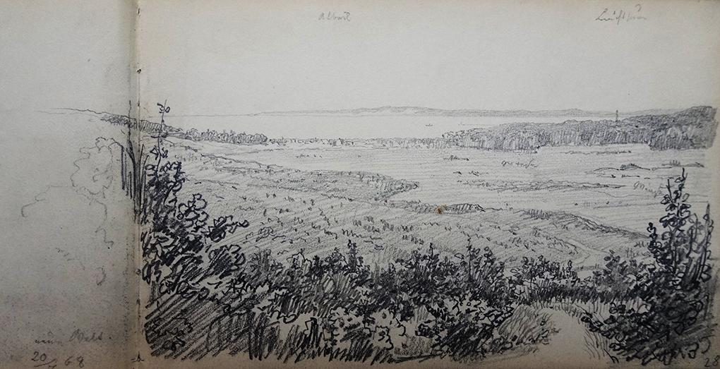 Ludwig Most, Pejzaż z okolic Albecku, 20.07.1868, ołówek, papier welinowy, Szkicownik nr 14, karta 27 verso–28, Muzeum Narodowe w Szczecinie