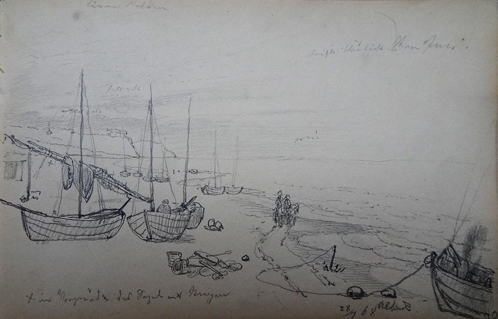 Ludwig Most, Ahlbeck, 28.07.1868, ołówek, papier welinowy, Szkicownik nr 14, karta 30, Muzeum Narodowe w Szczecinie