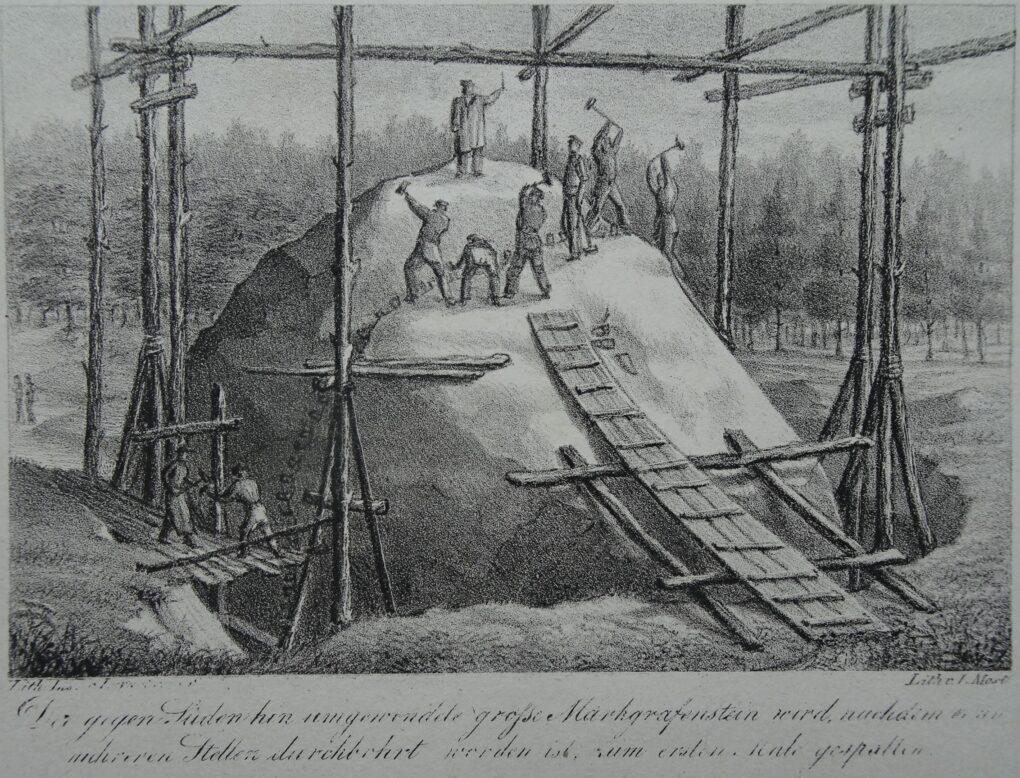 Ludwig Most, Rozłupanie Kamienia Margrabiego, 1830, wydał Lithographisches Institut w Berlinie, litografia, papier welinowy, Muzeum Narodowe w Szczecinie