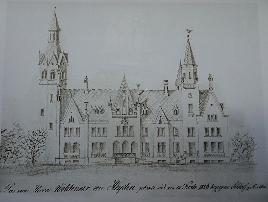 Theodor Schmidt, Zamek od strony dziedzińca, 1856, ołówek na papierze, Pfarrarchiv (Archiwum Parafialne) Karlow, reprodukcja w: Pommern. Zeitschrift für Kultur und Geschichte, nr 2/2009, s. 17