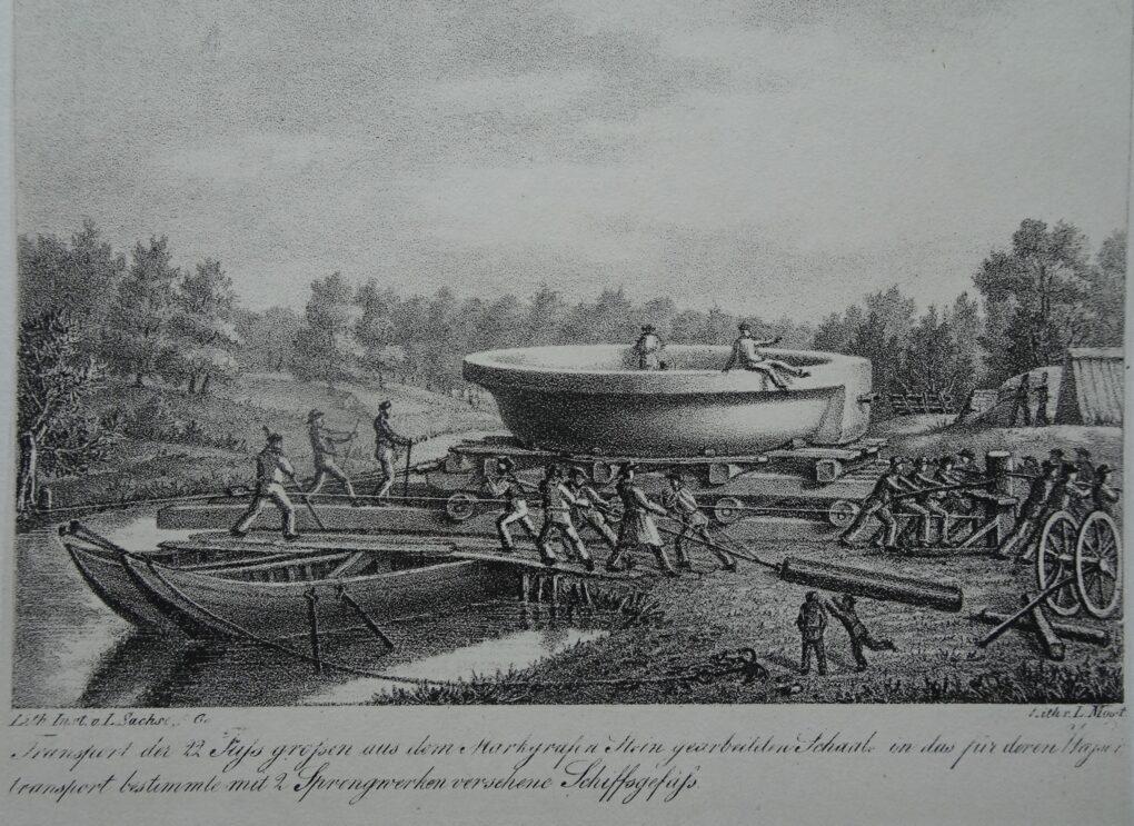 Ludwig Most, Transport kamiennej misy na łódź, 1830, wydał Lithographisches Institut w Berlinie, litografia, papier welinowy, Muzeum Narodowe w Szczecinie