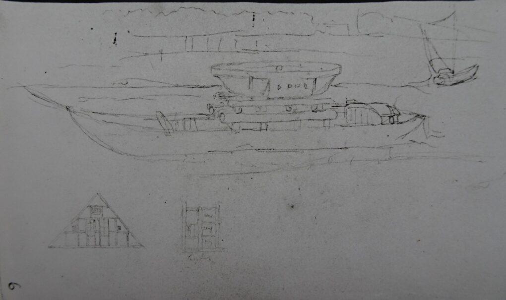 Ludwig Most, Widok misy umocowanej na łodzi na Szprewie, nie datowany (1828), ołówek, papier czerpany welinowy, Szkicownik nr 3, karta 6, Muzeum Narodowe w Szczecinie