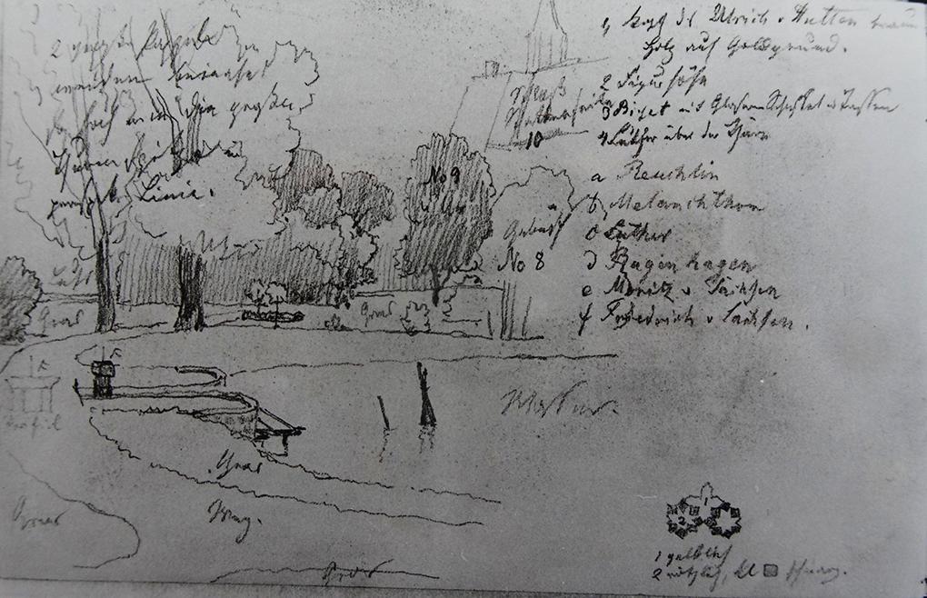 Ludwig Most, Widok przystani w parku, 12.07.1863, ołówek na papierze czerpanym welinowym, Szkicownik nr XIV, karta 18 verso, Muzeum Narodowe w Szczecinie