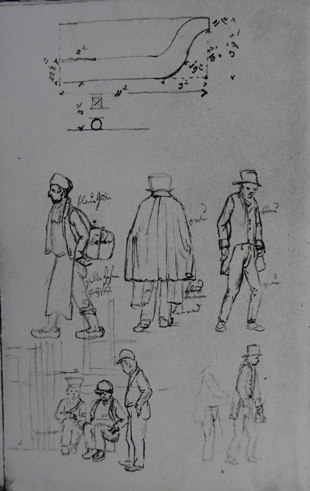 Ludwig Most, Przekrój misy i okolicznościowy sztafaż, nie datowany (1828), ołówek, papier czerpany welinowy, Szkicownik nr 3, karta 6 verso, Muzeum Narodowe w Szczecinie