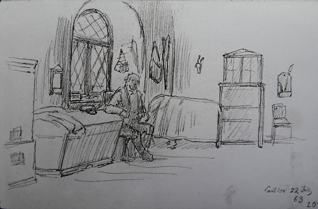 Ludwig Most, Wnętrze mieszkania myśliwego w owczarni przy pałacu w Kartlow, 22.07.1863, ołówek na papierze czerpanym welinowym, Szkicownik nr XIV, karta 20, Muzeum Narodowe w Szczecinie